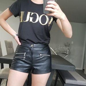 H&M Black zipper leather shorts